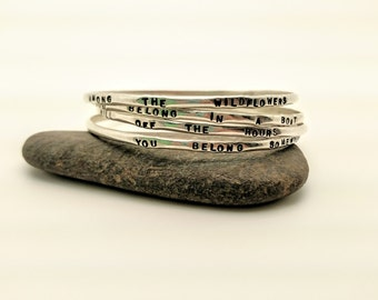 "Hand Stamped Sterling Silver ""Wildflowers"" Bangles"