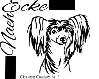 Embroidery Chinese Crested Chinesischer Schopfhund 1