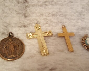 Miscellaneous Lot of Religious Medals and Angel Courage Stones