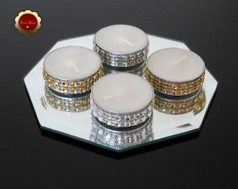 25 Gold & Silver Rhinestone Candles, Bling Tea Light Candles, Silver Rhinestone Bling Candles, Gold Wedding Candles,  Wedding Decor