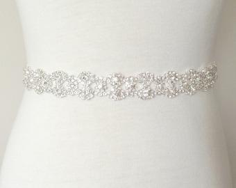 Silver Bridal Belt: Rhinestone Bridal Sash