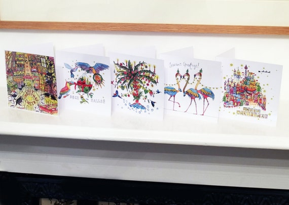 5 Tropical Christmas card pack, Christmas card set, Flamingo, Palm Tree Christmas cards
