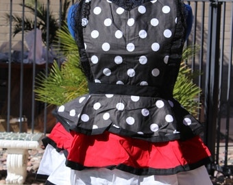 Black and white polka dot apron