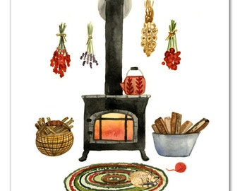 Wood Stove Wall Art, Hearth Watercolor Art by Little Truths Studio