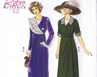 Vintage Early 1900s 20th Century Mock Wrap Dress Butterick 6093 Sewing Pattern Size 6 8 10 12 14