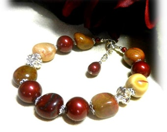 Mookaite Jasper Bracelet, Burgundy Swarovski Pearls, Mookaite Gemstones, Gemstone Jewelry, Handcrafted Jewelry, Red and gold Jewelry,