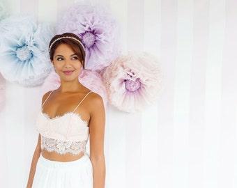 Pastel paper  flowers, giant hand-dyed paper flower wall backdrop- peach, lavender, lilac, pale blue, blush, lemon, mint paper flower