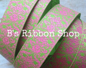 "7/8"" Hot Pink Glitter Damask on Lime USDR grosgrain ribbon"