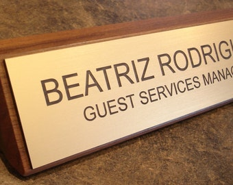 Walnut Office Name Plate Personalized