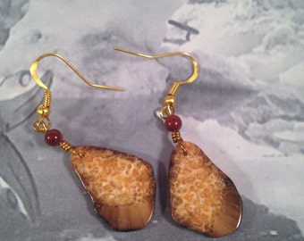 Alaska fossil walrus ivory earrings