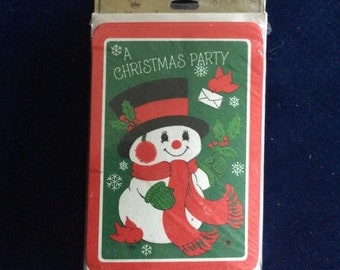 vintage package of 8 Christmas Party invitations