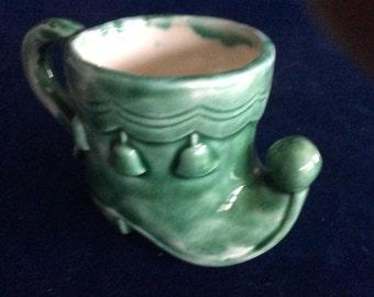 Vintage small green elf boot planter