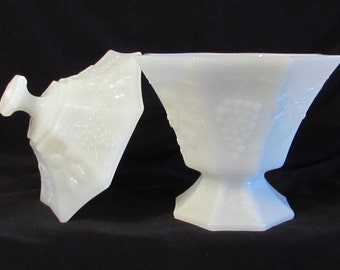 Milk Glass Covered Compote, Covered Candy Dish, Milk Glass Serving Bowl