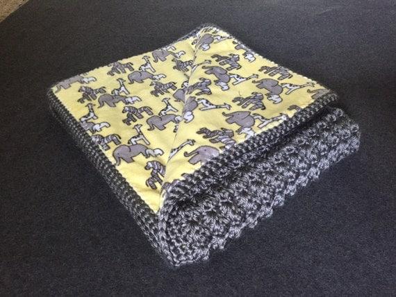 Giraffe elephant & zebra crochet fabric-lined baby blanket