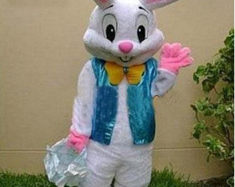 Easter Bunny Mascot Costume Fluffy Plush Costume