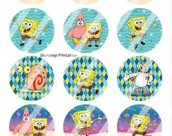 30%OFF Buy 3 Get 1 FREE Spongebob Squarepants 1 Inch Circles Bottlecap Images ~ Instant Download ~ Birthday Printable Image Sheet SB_13