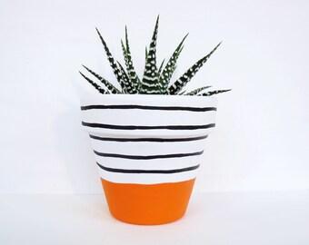 Hand Painted Plant Pot - Orange Stripe