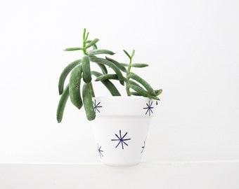 Hand Painted Navy Stars Plant Pot - 11cm