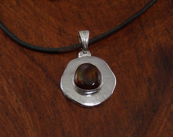 Fine Silver and Fire Agate Necklace