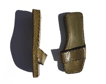 Olive green modern minimal leather woven sandals