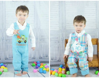 Reversible Easter Longalls,Boys Easter Longalls,Boys Easter Outfit,Applique Embroidered Jon Jon Longalls