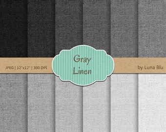 "Linen Digital Paper: ""Gray Linen"" gray textures, linen backgrounds for scrapbooking, invites, cardmaking,  linen canvas textures"