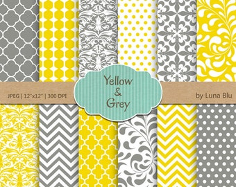"""Yellow and Gray Digital Paper: """"Yellow and Gray Patterns""""  for invitations, scrapbooking, cardmaking, crafts"""