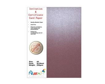 20pce Peach Metallic Certificate / Invitation Card Paper 250gsm, A4, Acid Free