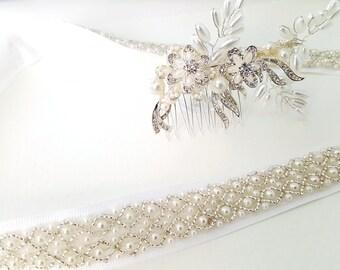 Wedding Accessories, Bridal Accessories, Bridal Belt, Bridal Hair Comb