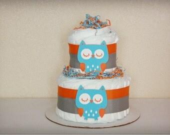 Owl Diaper Cake Centerpiece, Owl Diaper Cake / Owl Baby Shower / Baby Shower Centerpiece / Baby Shower Gift, Gender Neutral