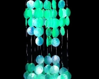 """Capiz Wind Chime With Teal Spiral 30"""" Inches Home Decor Indoor /Outdoor Handmade Prduct"""