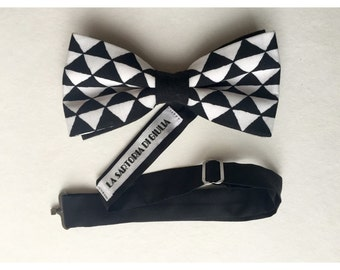 B & W black and white bowtie with simple pattern/cotton Free Shipping!