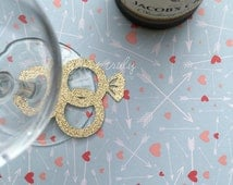 Diamond engagement / wedding ring / band intertwined in glitter wine ring / wine label / wine tag! (Pk of 20)