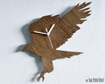 Flying Hawk Silhouette - Wooden Wall Clock