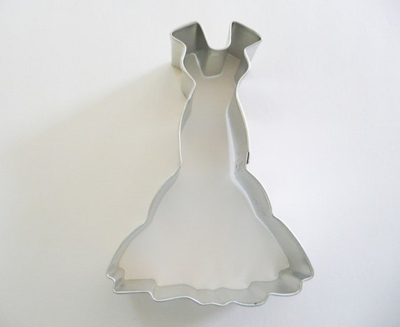 4 wedding gown cookie cutter tin plated by cakeandcandydreams for Wedding dress cookie cutters