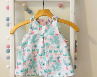 Baby/Toddler Overall Dress. Twill/Cotton. Tropical Cactus Design