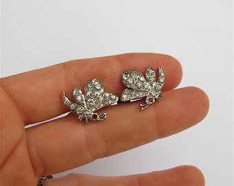 Antique Silver and Paste Butterfly Earrings c.1900