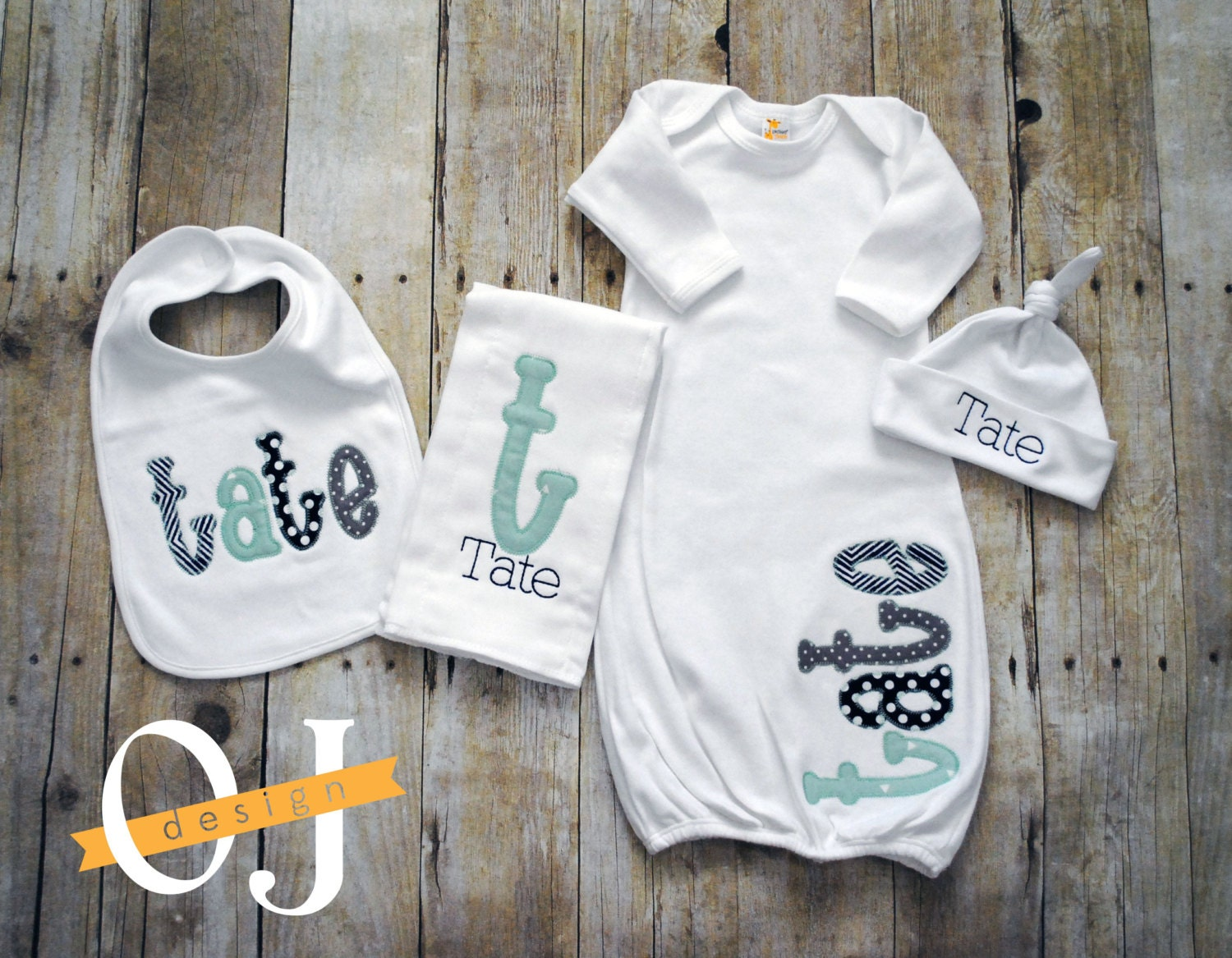 Personalised Baby Gift Sets : Personalized baby boy gift set newborn infant