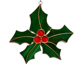 Stained Glass Holly Window Decoration or Wall Art, Christmas Holly Decor, Holly Suncatcher, Holiday Accent with green leaves and red berries