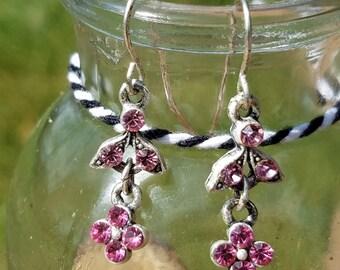 Pink Jewled Dangle Flower Earrings