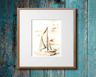 Sailboat Minimalist Painting Art Print, Watercolor Print, Nautical Decor, NAutical Wall Art, Modern Decor