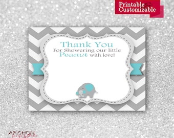 Elephant Baby Shower Thank You Card - Chevron with Blue and Grey Accents - Printable & Personalized - A-00017