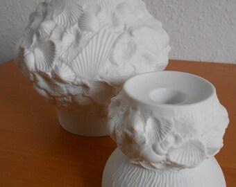 Vintage set - white vase and candleholder - biscuit porcelain - mussels - fossils - op art - mid century - Kaiser porcelain of West Germany