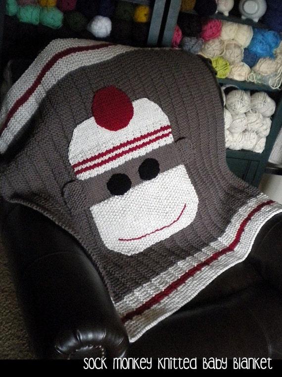 Sock Monkey Knitted Baby Blanket Knitting Pattern
