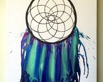 Dreamcatcher Melted Crayon Art