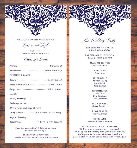 elegant wedding ceremony programs card traditional wedding