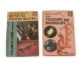 Vintage Ladybird Books - Vintage Children's Books - Telescope Book - Microscope Book - Musical Instrument Book