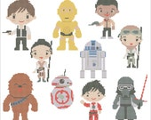 BOGO FREE! Star Wars Heroes Force Awakens characters Cross Stitch Pattern - pdf pattern instant download #86