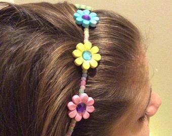 Pastel Flowers Girl's Beaded Headband
