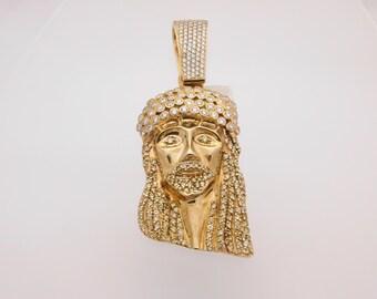 12.00 Carat T.W. Certified Round Cut Diamond Jesus Head Pendant 14K Yellow